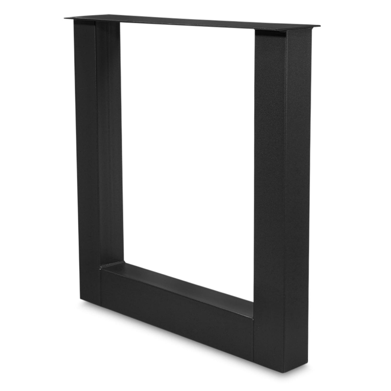Stehtisch / Bartisch Beine U Metall SET (2 Stück) - 10x10 cm - 78 cm breit - 90 cm hoch - U-form Stahl Tischbeine Hochtisch - Schwarze Pulverbeschichtung