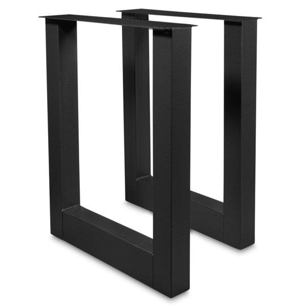 Stehtisch / Bartisch Beine U Metall SET (2 Stück) - 10x10 cm - 78 cm breit - 106 cm hoch - Schwarz