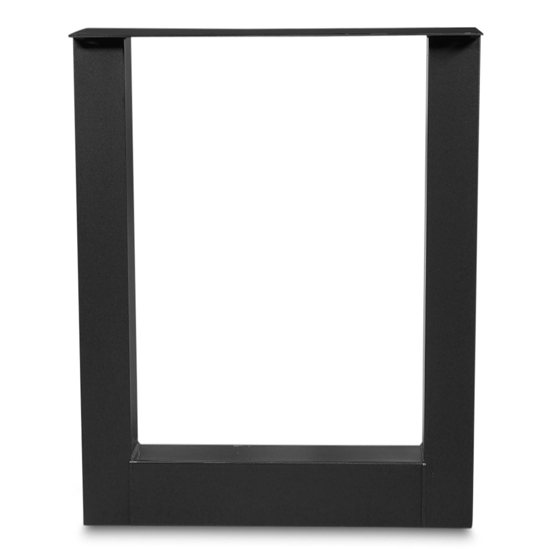 Stehtisch / Bartisch Beine U Metall SET (2 Stück) - 10x10 cm - 78 cm breit - 106 cm hoch - U-form Stahl Tischbeine Hochtisch - Schwarze Pulverbeschichtung