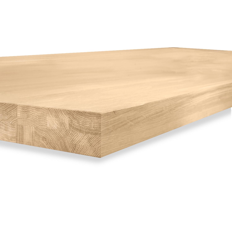 Tischplatte Eiche nach Maß - Aufgedoppelt - 6 cm dick (2-lagig) - Eichenholz A-Qualität - Eiche Tischplatte massiv - verleimt & künstlich getrocknet (HF 8-12%) - 50-120x50-300 cm