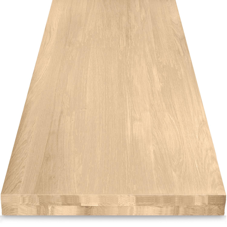 Tischplatte Eiche nach Maß - Aufgedoppelt - 8 cm dick (2-lagig) - Eichenholz A-Qualität - Eiche Tischplatte massiv - verleimt & künstlich getrocknet (HF 8-12%) - 50-120x50-300 cm