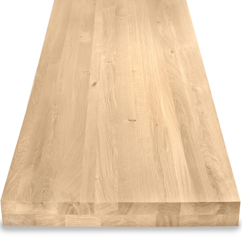 Tischplatte Eiche nach Maß - Aufgedoppelt - 8 cm dick (2-lagig) - Eichenholz rustikal - Eiche Tischplatte massiv - verleimt & künstlich getrocknet (HF 8-12%) - 50-120x50-300 cm - Gebürstet