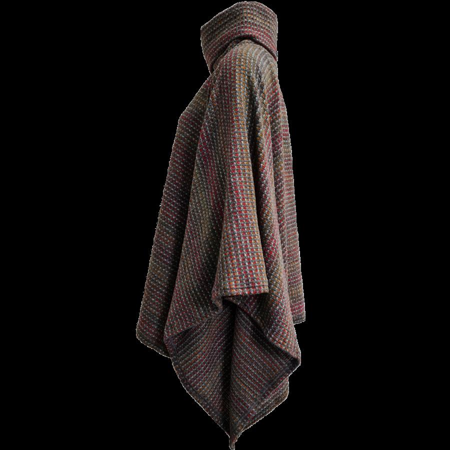 Poncho col van gekleurd breisel-3