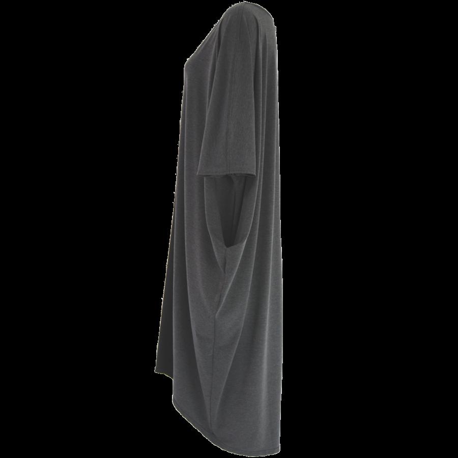 Lang wijd tuniek met zakken in de zijnaad van elastisch katoen.-5