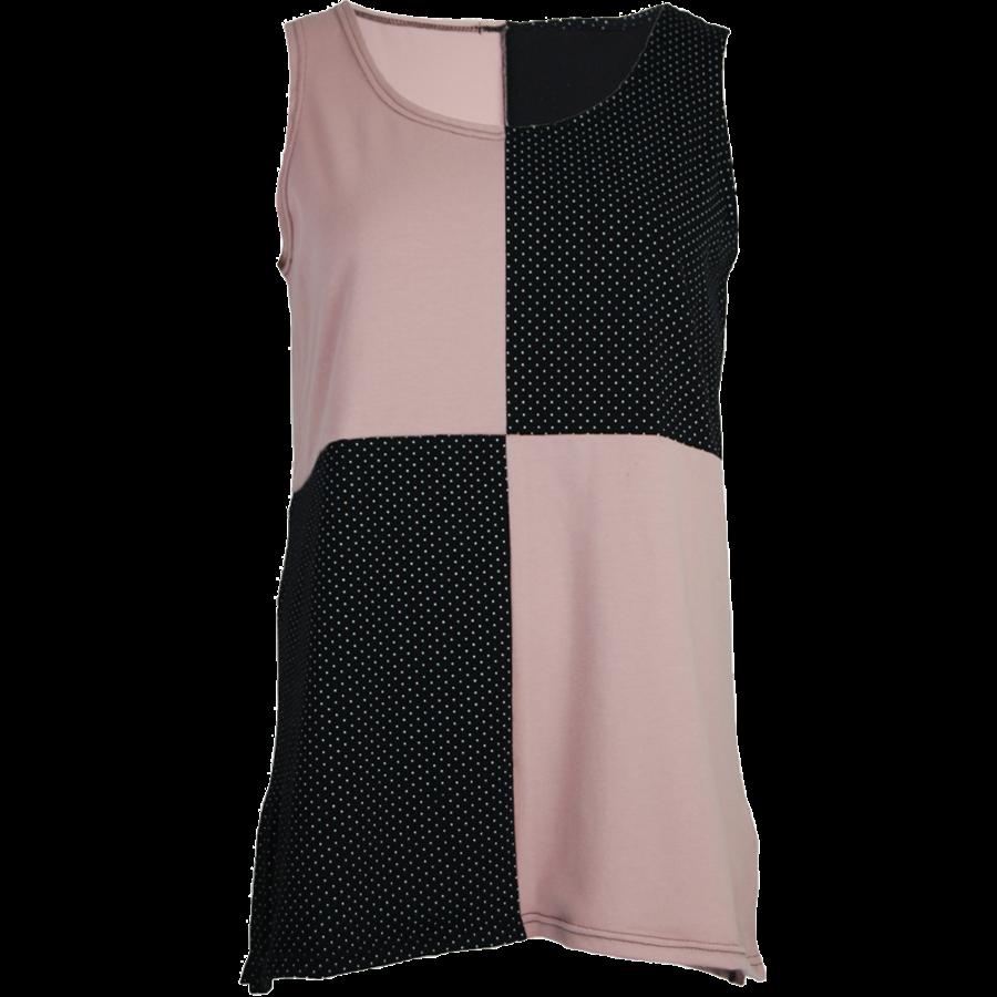 Hemd met een vlakverdeling in 2 kleuren en splitjes in de zijnaad van katoen.-2