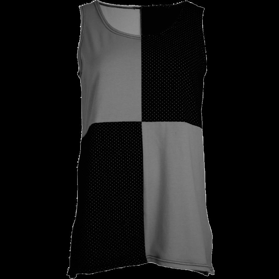 Hemd met een vlakverdeling in 2 kleuren en splitjes in de zijnaad van katoen.-1