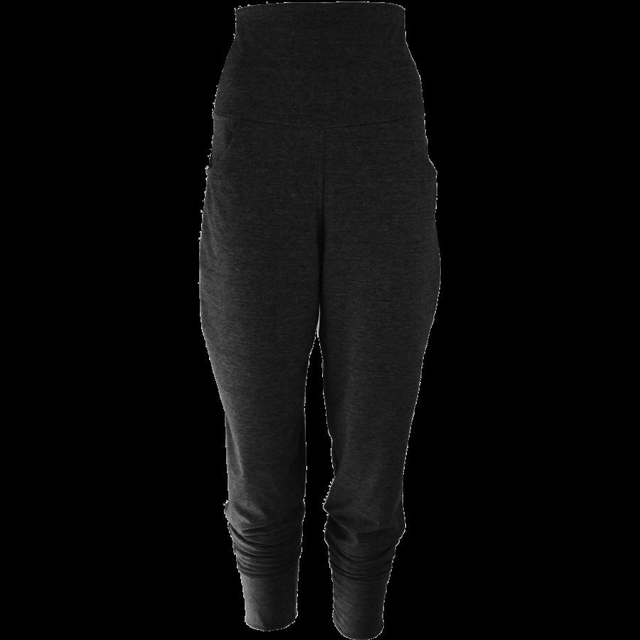 Broek met zakken, een brede tailleband en omslagen onderaan de broekspijpen.-1