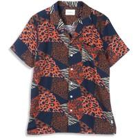 Woodbird Lost Cheetah Shirt Blauw Oranje
