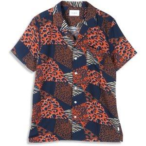 Woodbird Woodbird Lost Cheetah Shirt Blauw Oranje