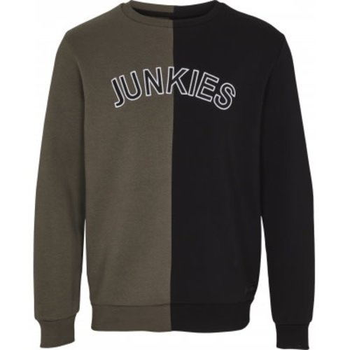 Just Junkies Just Junkies Erase Crewneck Groen Zwart