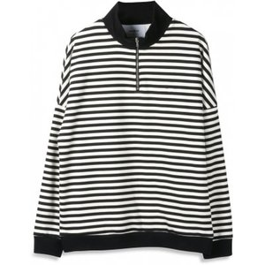 Woodbird Woodbird Sailor Crewneck Half-Zip Zwart Wit