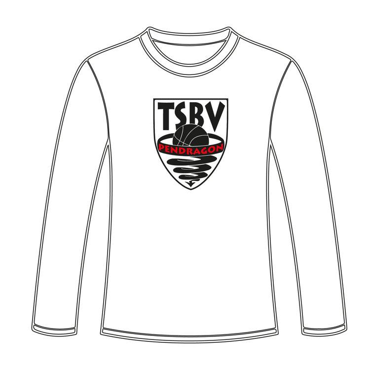 Burned Teamwear T.S.B.V. Pendragon Longsleeve logo Groot Rood Wit