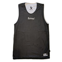 Burned Big Hole Mesh Jersey Dubbelzijdig Zwart Wit