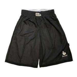 Burned Burned Big Hole Mesh Short Reversible Black White