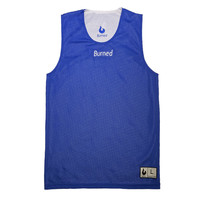 Burned Big Hole Mesh Jersey Double Sided Royal Blue White