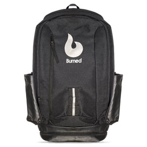 Burned Burned Backpack Black White