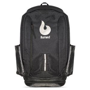 Burned Burned Backpack Black White