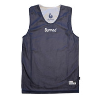 Burned Big Hole Mesh Jersey Dubbelzijdig Donkerblauw Wit