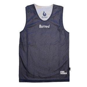 Burned Burned Big Hole Mesh Jersey Dubbelzijdig Donkerblauw Wit