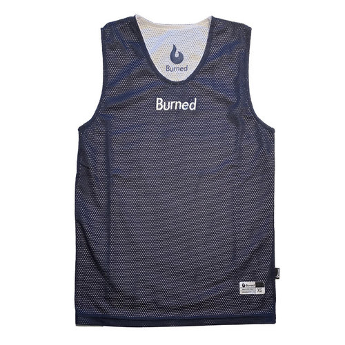 Burned Burned Big Hole Mesh Jersey Reversible Dark Blue White