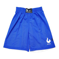 Burned Big Hole Mesh Short Double Sided Royal-Blue White