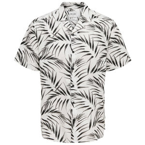 Only & Sons Only & Sons Palm Leafs Blouse Wit Zwart