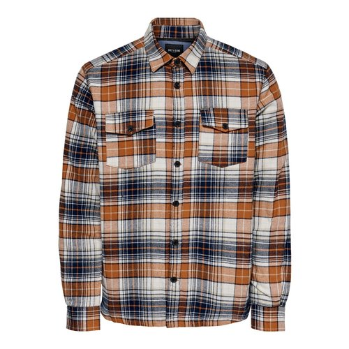 Only & Sons Only & Sons Lumberjacks Shirt Orange Checkered