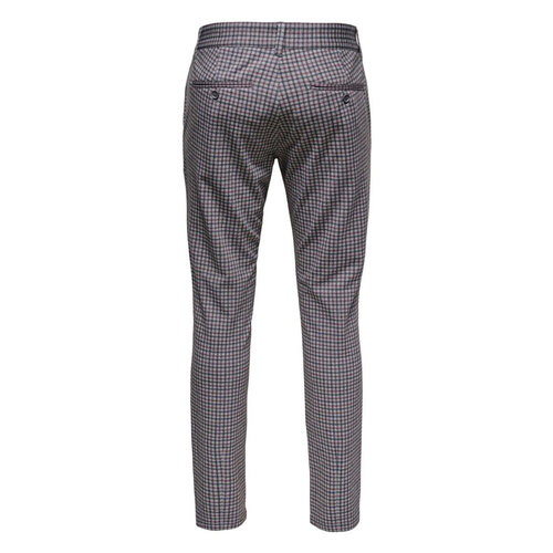 Only & Sons Only & Sons Kamp Tap Check Pantalon Grijs Rood  Zwart Geblokt