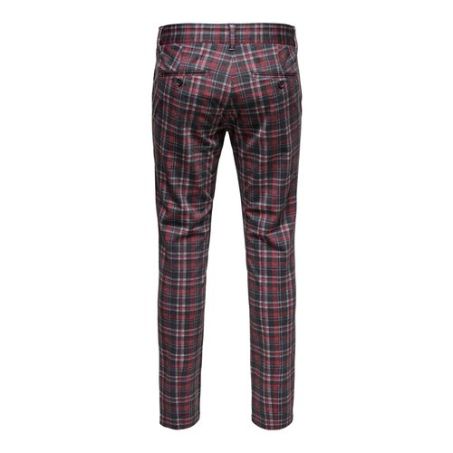 Only & Sons Only & Sons Onsmark Kamp Tap Pantalon Rood Grijs