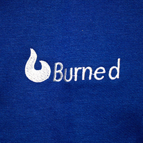 Burned Burned Crewneck Royal Blue Raglan