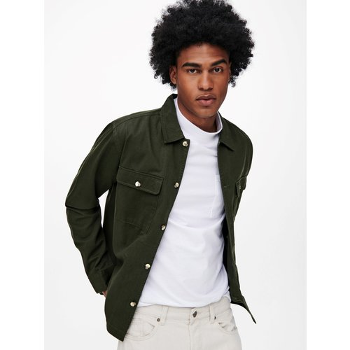 Only & Sons Only & Sons Ilvio  Twill Overshirt Groen
