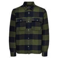 Only & Sons Check Flannel Overshirt Olive Navy