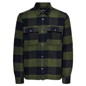 Only & Sons Only & Sons Check Flannel Overshirt Olive Navy