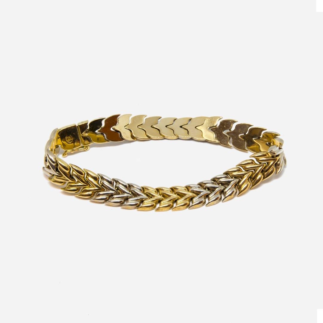 Armband visgraatschakel bicolor-3