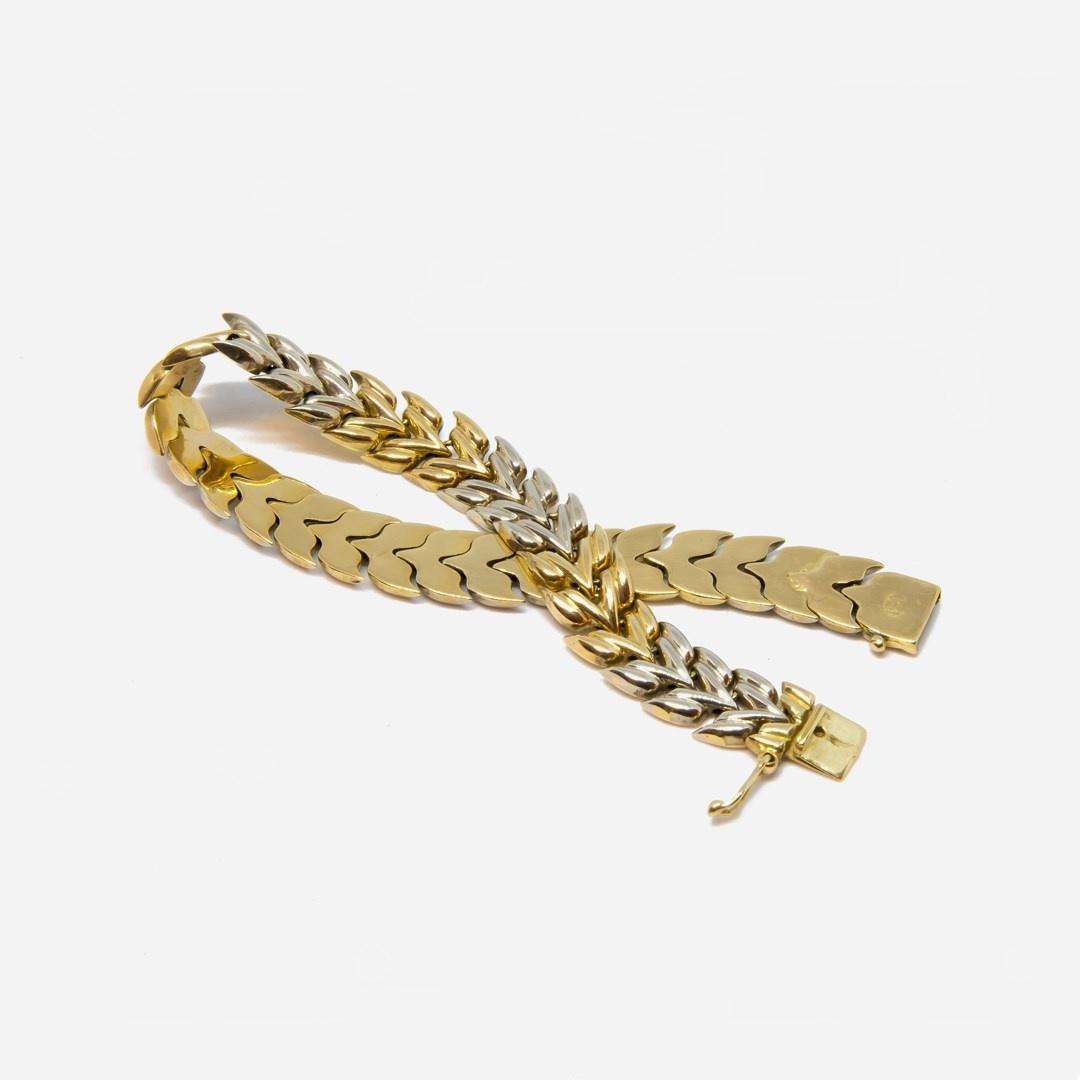 Armband visgraatschakel bicolor-5