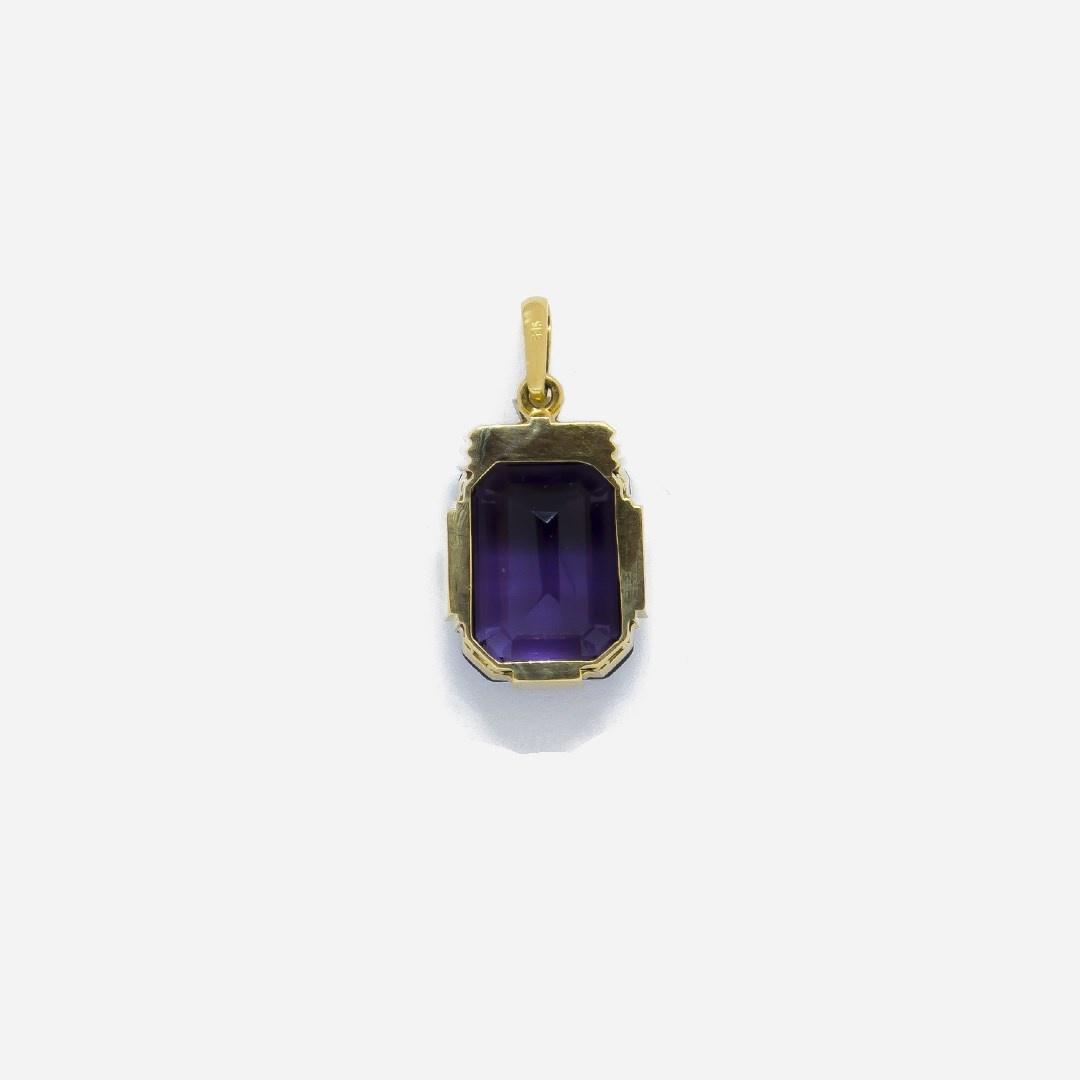 Hanger met paarse (natuurlijke) amethyst en diamant-2