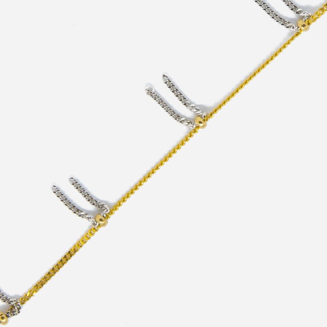 Ketting geelgoud met witgouden sliertjes bicolor-5