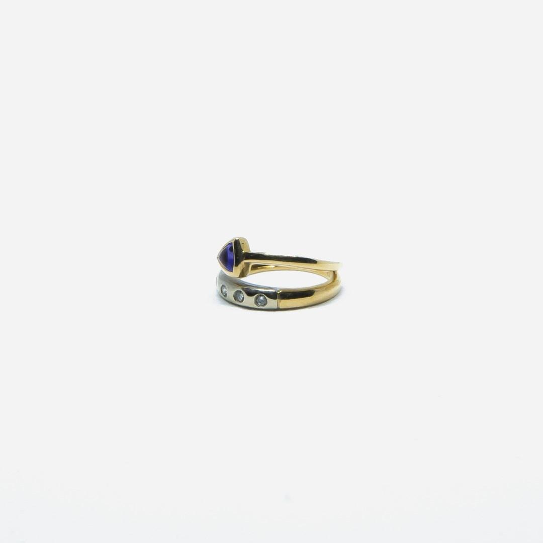 Ring bicolor met paars steentje en 5 diamantjes-5