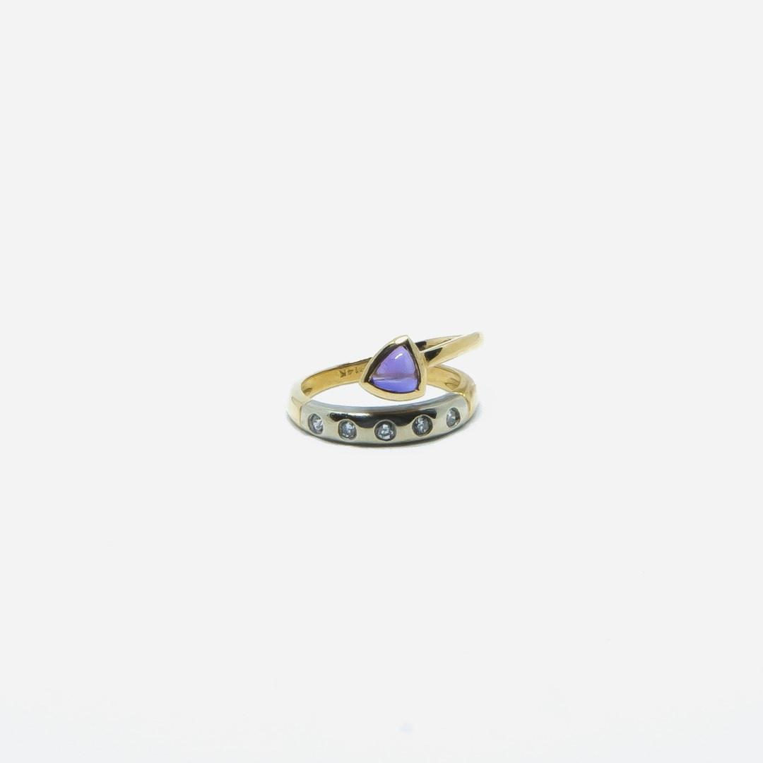 Ring bicolor met paars steentje en 5 diamantjes-6