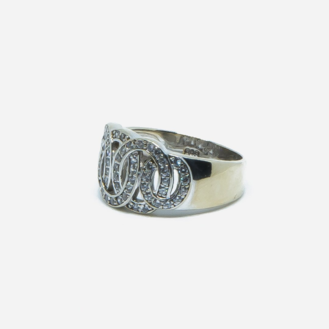 Ring witgoud met cirkels en zirkonia-2