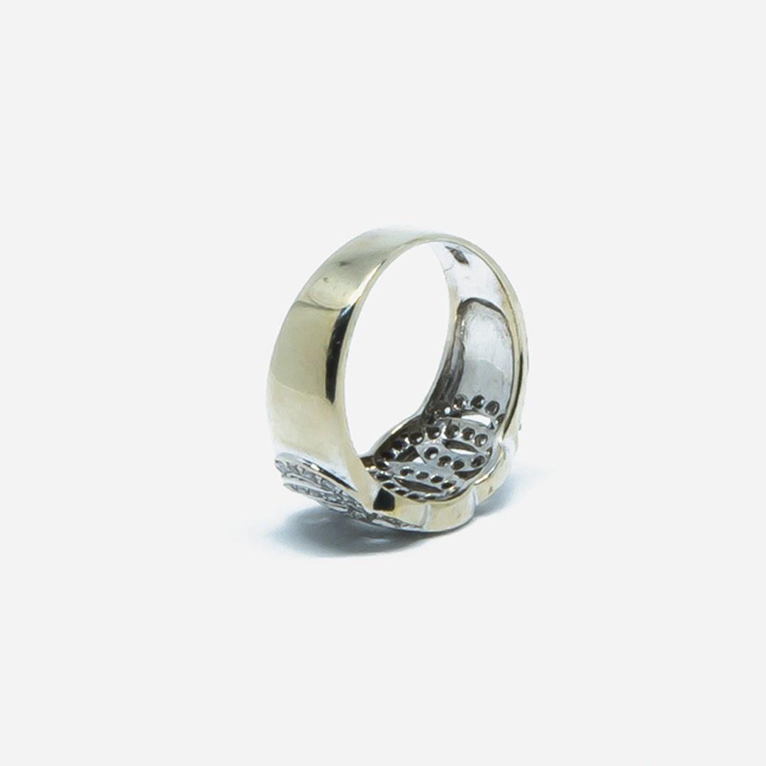 Ring witgoud met cirkels en zirkonia-4
