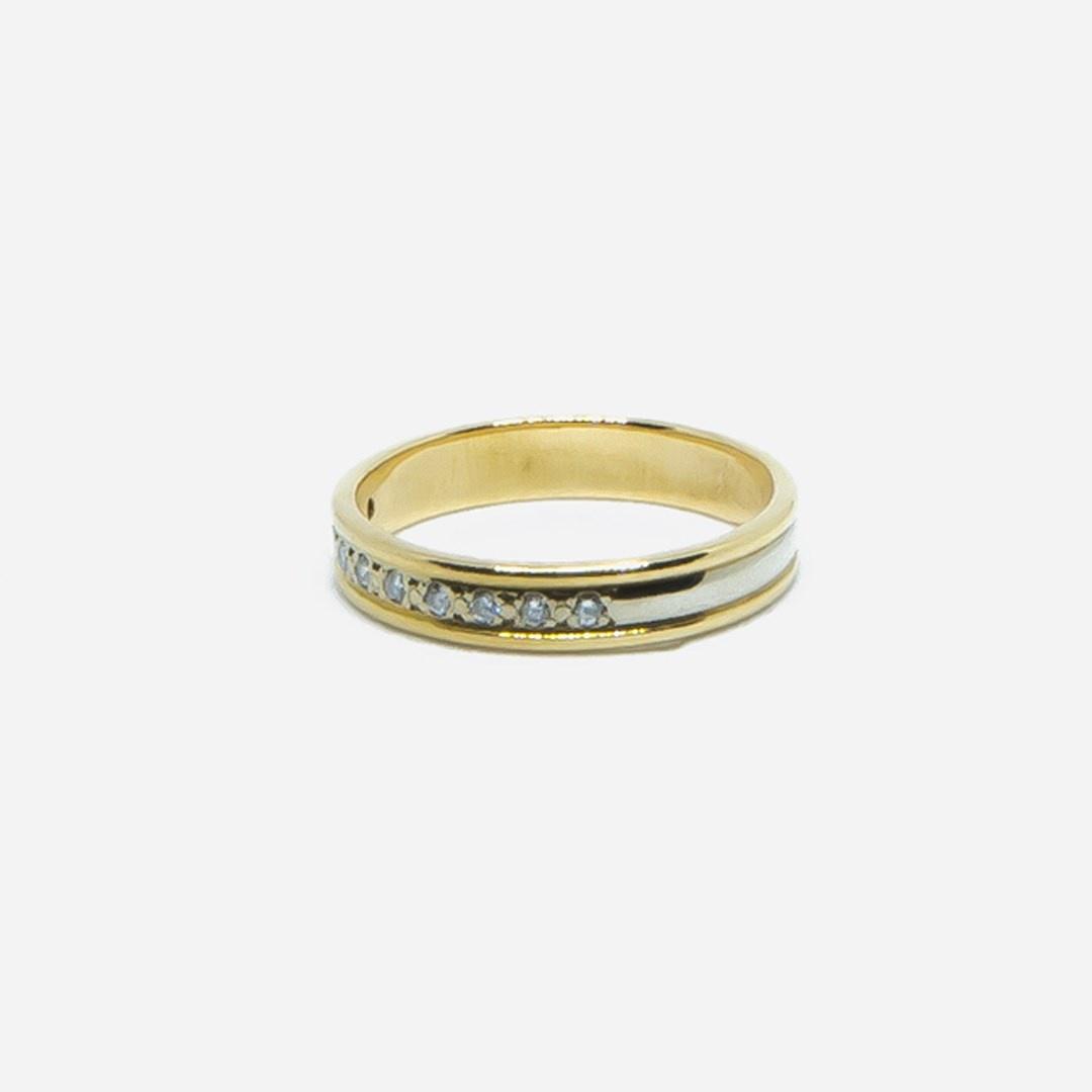 Ring bicolor met diamantjes-3