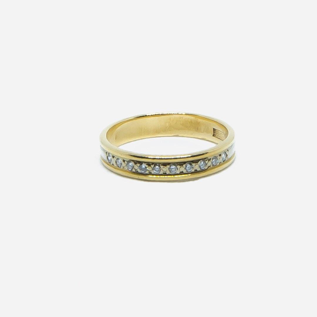 Ring bicolor met diamantjes-2