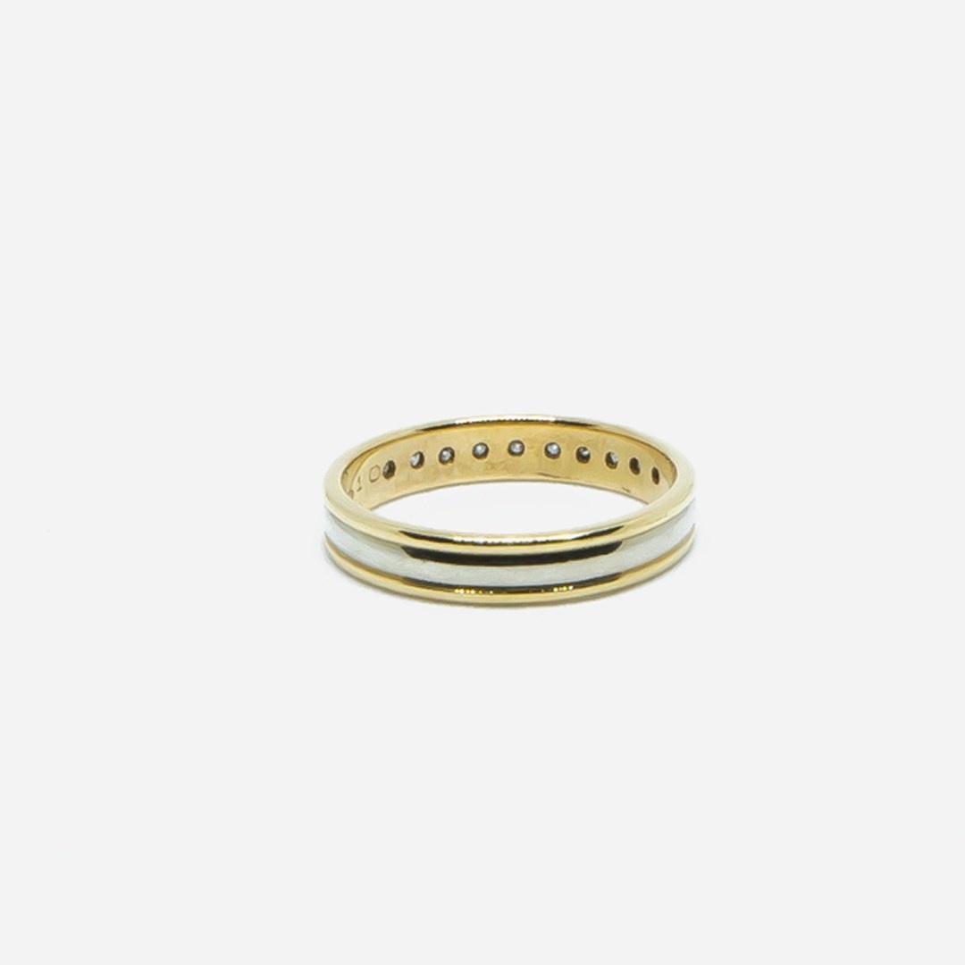 Ring bicolor met diamantjes-4
