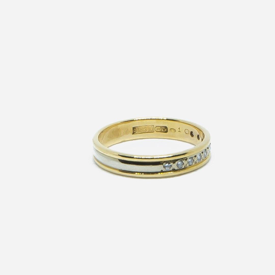 Ring bicolor met diamantjes-5