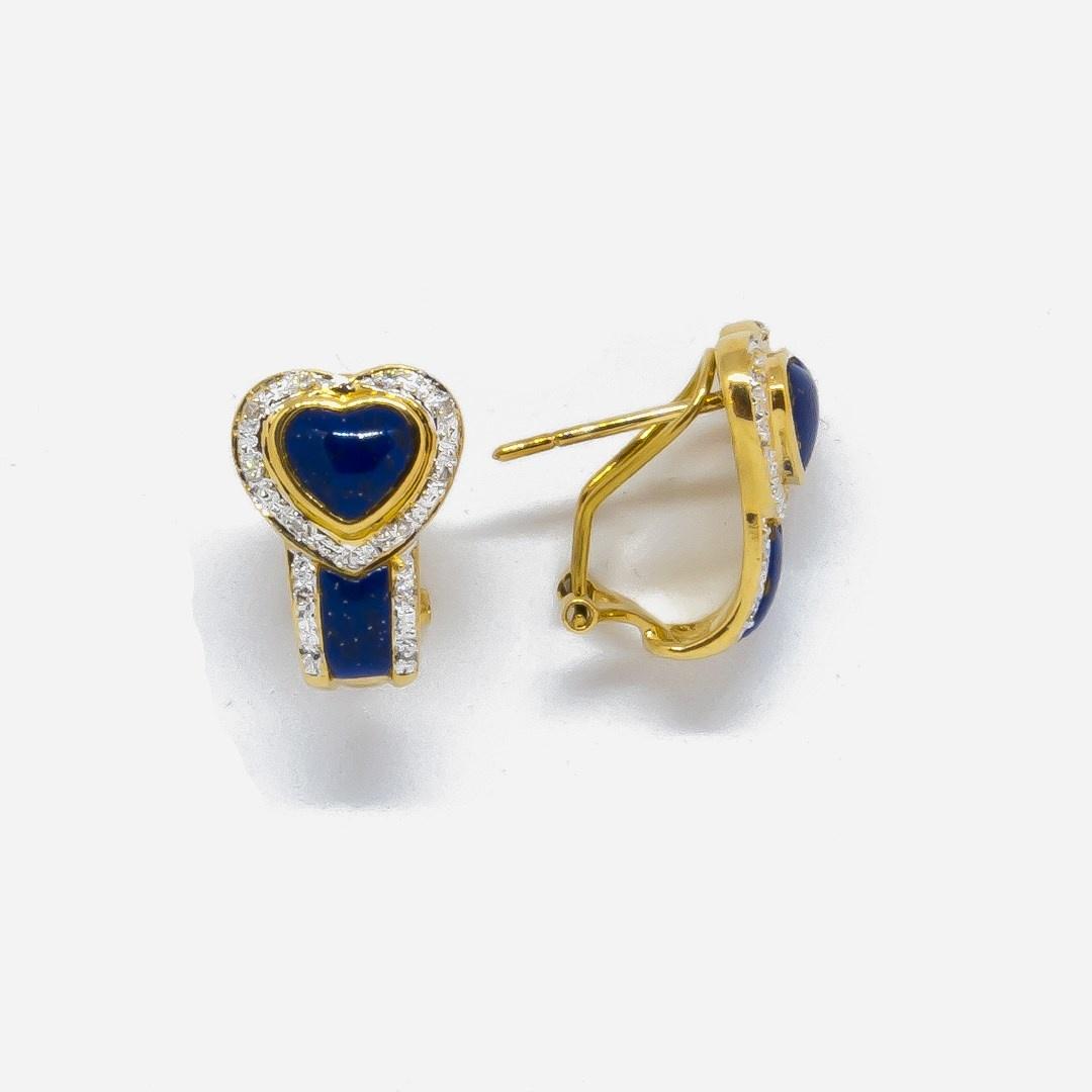 Oorbellen blauwe hartjes en diamant-3
