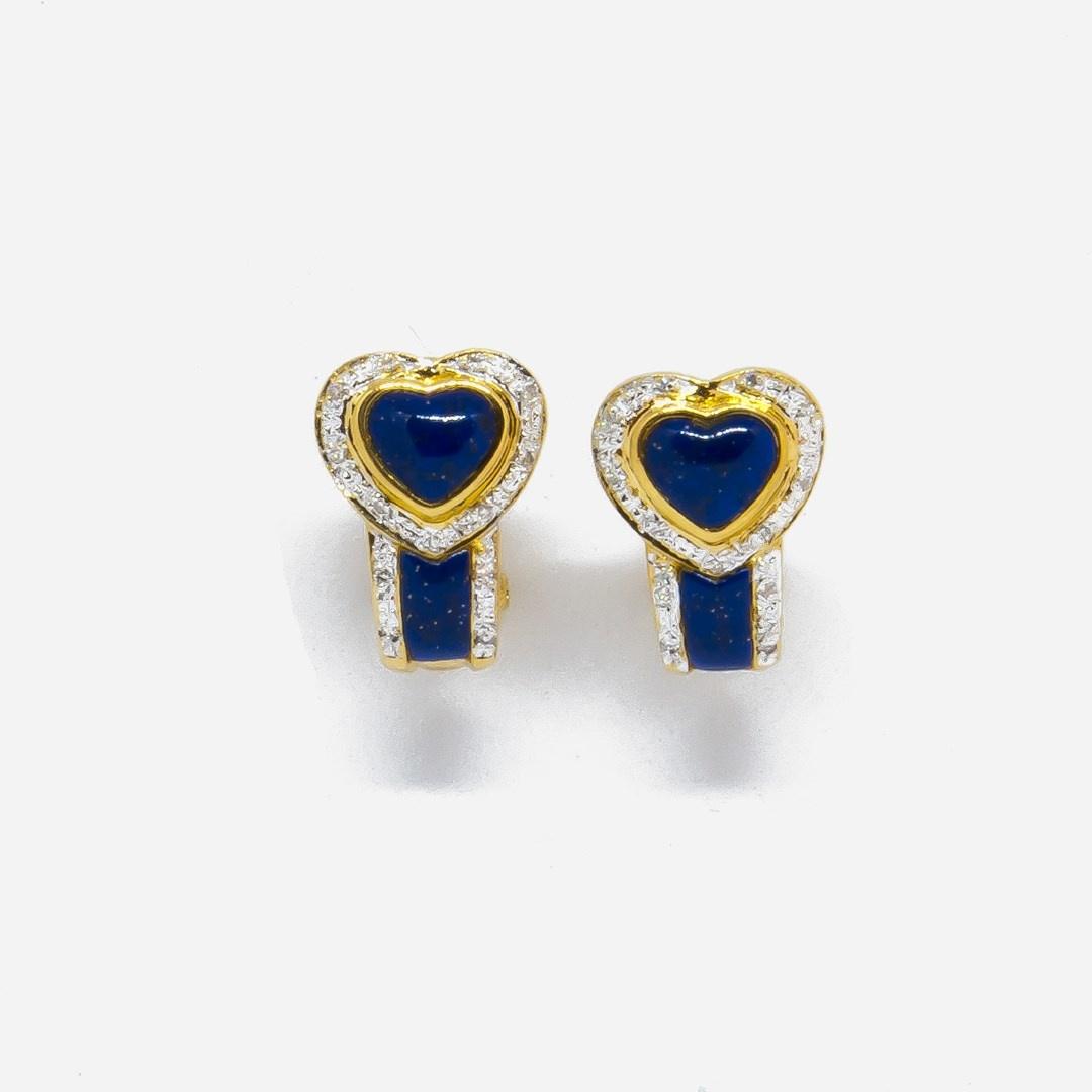 Oorbellen blauwe hartjes en diamant-4