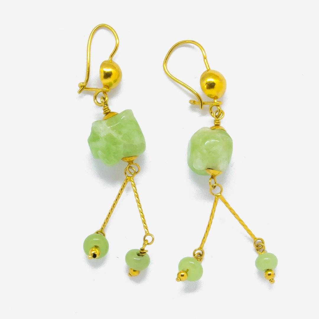 Oorbellen met jade stenen-2