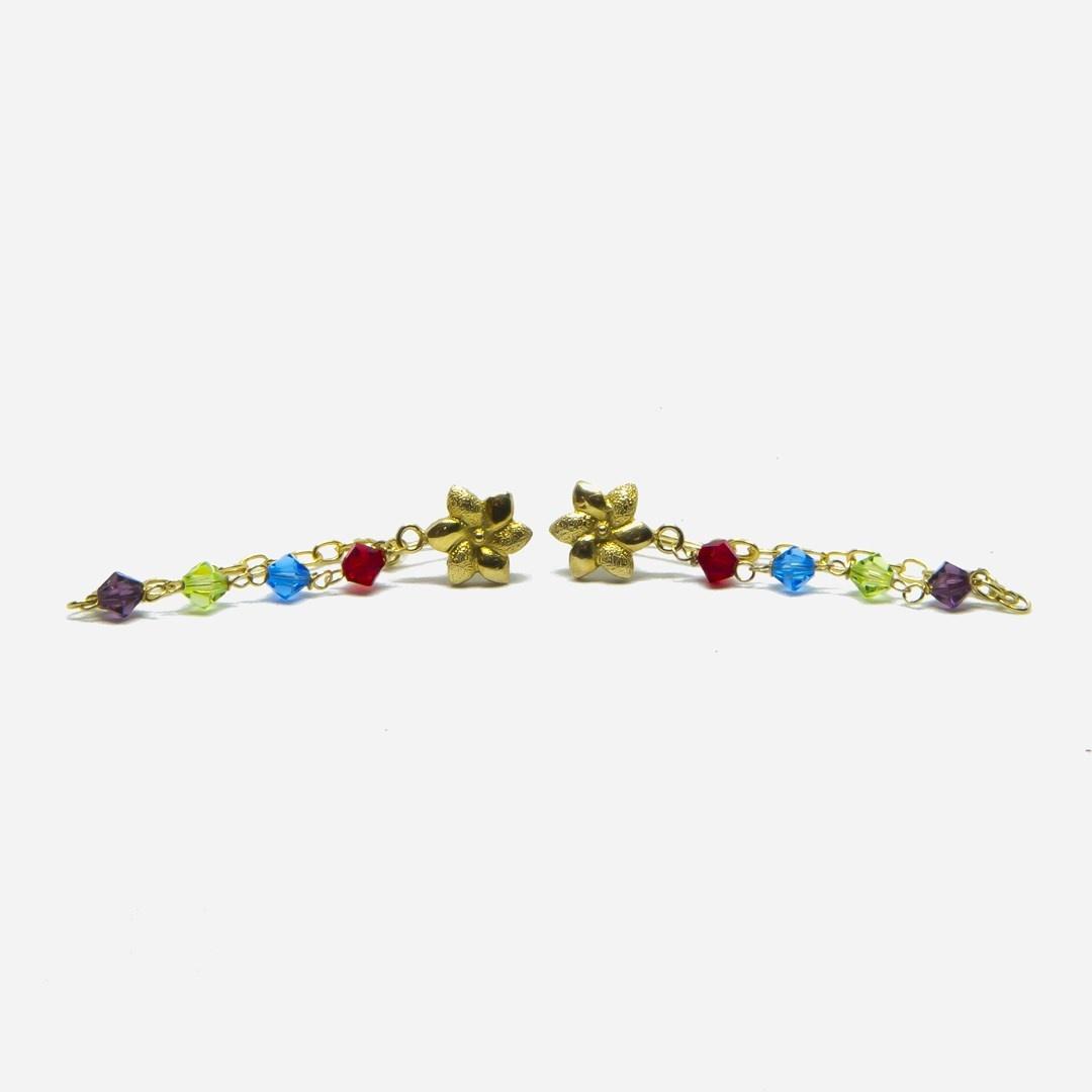 Oorbellen kettinkjes met bloemetje en gekleurde kralen-2