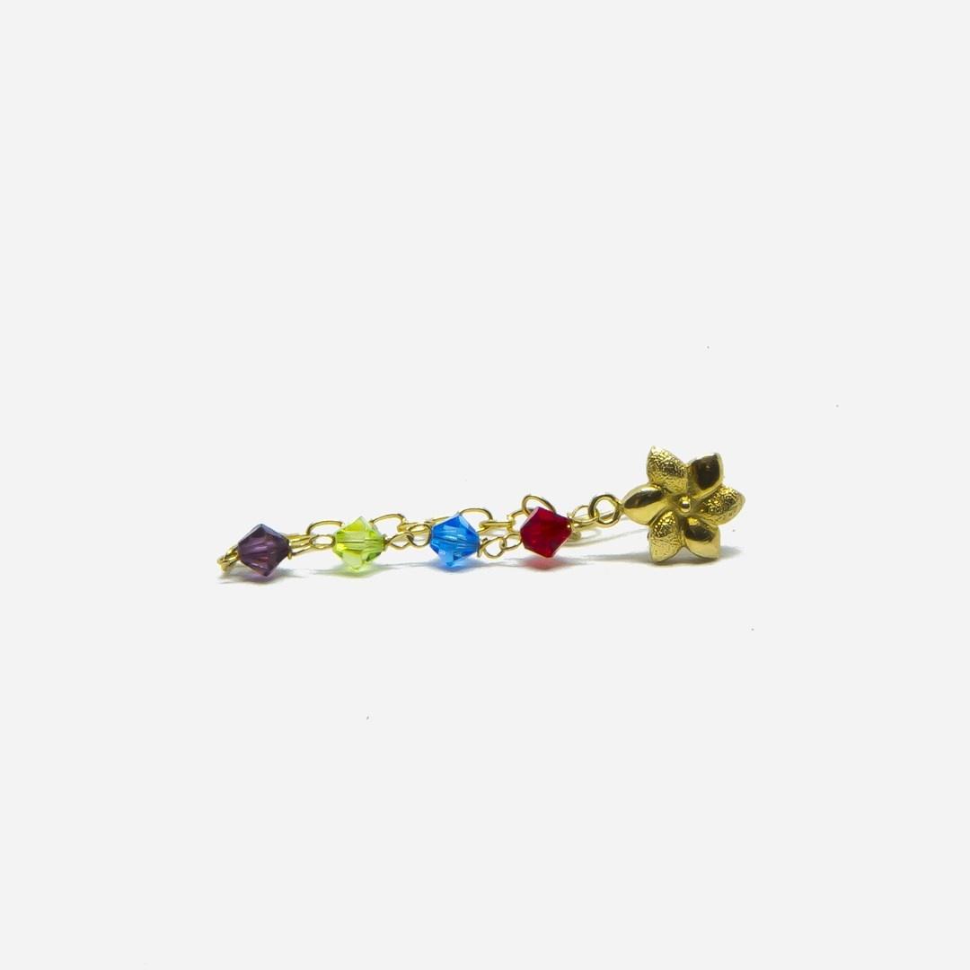 Oorbellen kettinkjes met bloemetje en gekleurde kralen-3